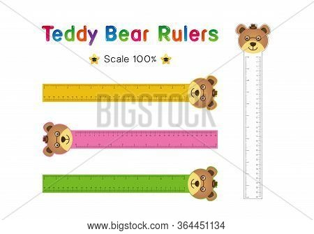 Teddy Bear Head Of Rulers Inch And Metric Rulers. Scale For A Ruler In Inches And Centimeters. Centi