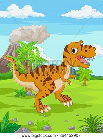 Vector Illustration Of Cartoon Tyrannosaurus In The Jungle