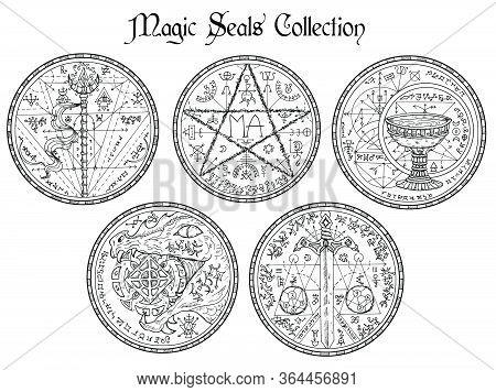 Design Vector Set With Black And White Magic Seals And Mystic Symbols. Halloween Line Art Illustrati