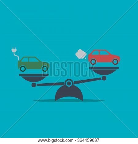 Electric Car Versus Gasoline And Diesel Car On Scales. Vector Simple Flat Symbol On Blue