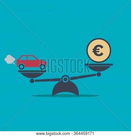 Car And Money On Scales Icon. Scales With Car And Euro Coin In Flat Style. Buying Car Concept. Vecto