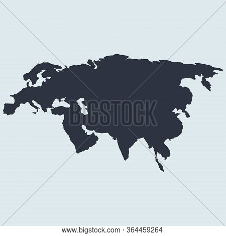 Eurasia Map Logo Icon. Europe And Asia. Vector Simple Symbol In Flat Style