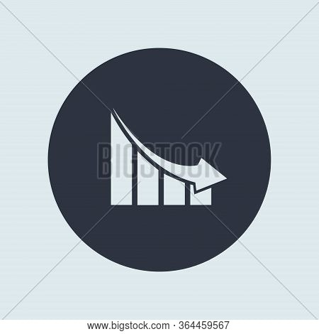 Falling Graph Down In Round. Simple Vector Symbol In Flat Style