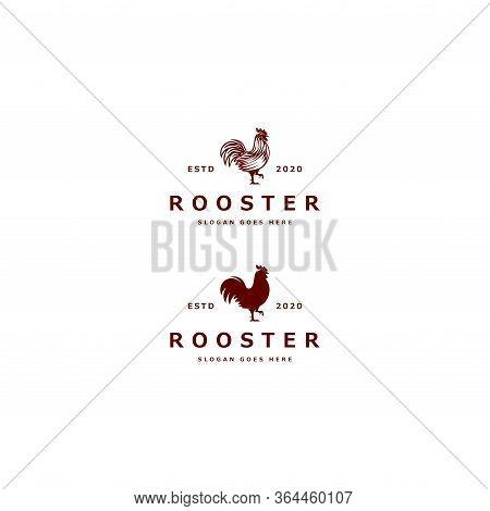 Chicken Logo Mono Line Vector Vintage Logo Design