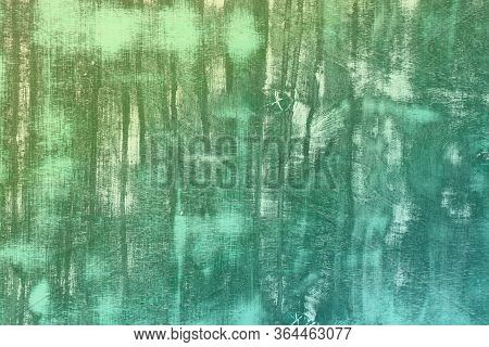 Fantastic Teal, Sea-green Grunge Texture Of Wooden Plate With Many Scratches - Abstract Photo Backgr