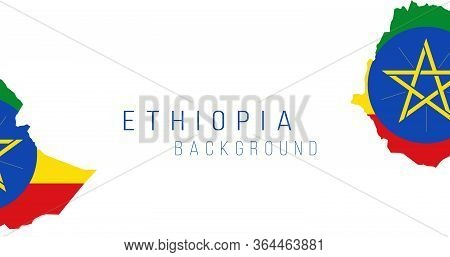 Ethiopia Flag Map Background. The Flag Of The Country In The Form Of Borders. Stock Vector Illustrat