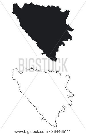 Bosnia And Herzegovina Country Map. Black Silhouette And Outline Isolated On White Background. Eps V