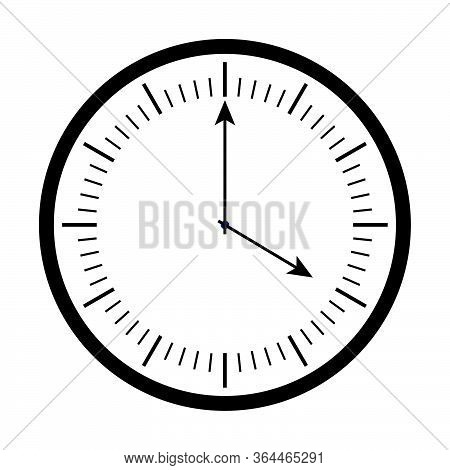 Analog Round Wall Clock Icon. Black And White Analog Wall Clock Icon Showing Time 4pm Isolated On A