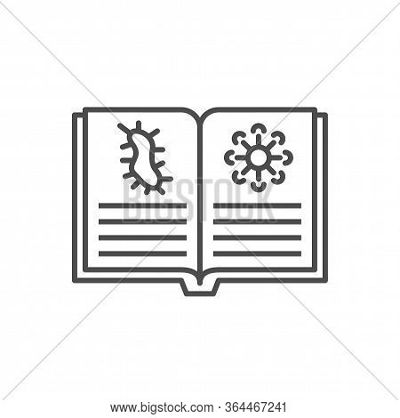 Knowledge Of Virology Related Vector Thin Line Icon. Open Book With Virus Information. Isolated On W