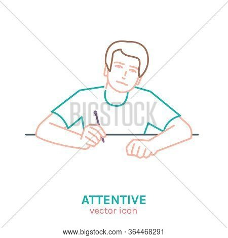 Attentive Teenager Icon. I Like Learning. Feel Interested. Motivated Student. Hard-working Boy. Edit