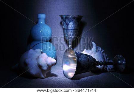 Still Life With Goblets And Conches. Old Style
