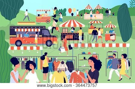 Summer Fair. Festive Food, Street Season Flea Market. Garage Sale In Park. Family Festival Event, Ma
