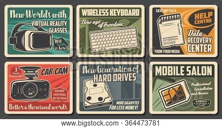Technology Devices, Computer, Phone And Internet Communication, Vector Retro Posters. Electronic Sma