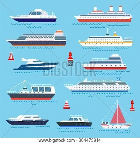 Sea Ship. Vessel Shipping, Speedboating And Yacht. Travelling Or Transportation, Cruise And Modern V