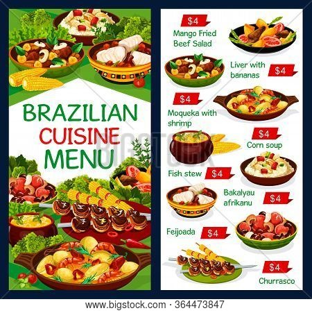 Brazilian Cuisine Food Meals, Traditional Restaurant Menu Dishes, Vector. Brazilian Churrasco Meat,