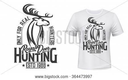 Deer Animal, Hunting Club T-shirt Mockup. Vector Reindeer Wild Animal For Apparel Print Custom Desig
