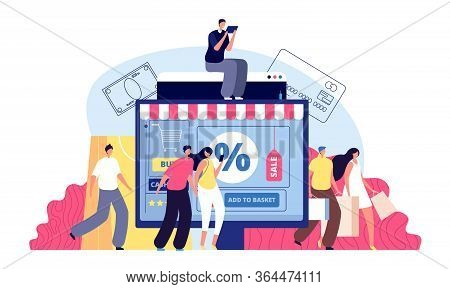Online Shopping. Phone Shop, Person Buying On Laptop. E-commerce, Bags Purchasing Or Parcel Delivery