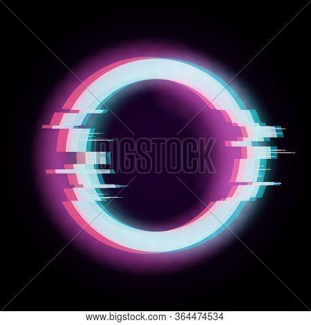 Glitch Effect. Circle Distorted Shape, Digital Technology Element. Futuristic Poster, Broken Destroy