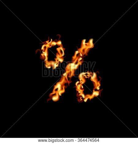 Percent Sign. Fire Sale Design On Black Background. Vector Illustration