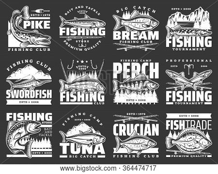 Fishing Sport Leisure, Fish Hooks And Lure Rods Vector Icons. Fishing Club Big Fish Catch Tournament