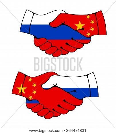 China And Russia, Cooperation Handshake Symbol With Flags. China And Russia Friendship And Partnersh
