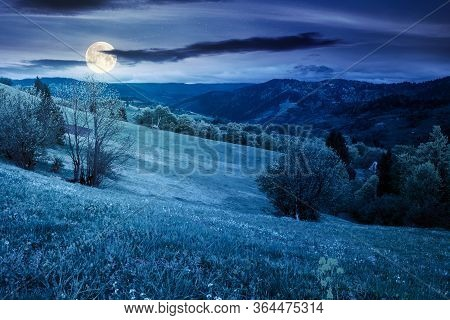 Beautiful Rural Landscape In Mountains At Night. Countryside Scenery On An Overcast Weather In Sprin