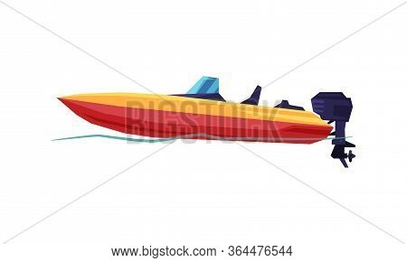 Power Boat, Speedboat With Outboard Motor, Modern Nautical Motorized Transport Vector Illustration