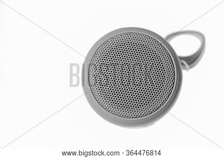 Audio Speaker Close-up On A White Background, Speaker System. Musical Column, Top View.