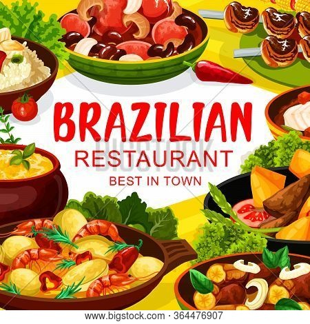 Brazilian Cuisine Traditional Snacks And Meals, Vector Menu Cover. Brazilian Feijoada Beans Stew, Ch