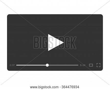 Video Player For Multimedia In Flat Design. Media Player Ui For Movie And Films. Template Of Web Pla