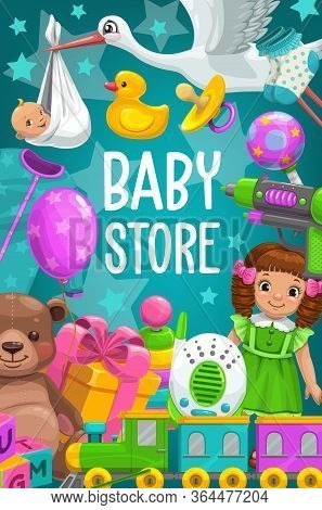 Kid Toys And Baby Games Shop. Vector Poster With Bear And Dolls. Boy And Girl Toys Newborn Nurse Rad