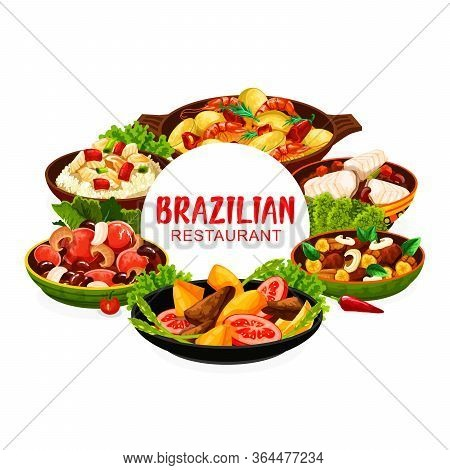 Brazilian Cuisine Feijoada Beans And Fish Stew Bacalhau, Moqueca Seafood And Liver With Bananas, Cor