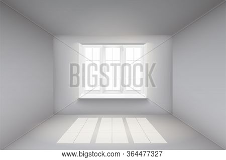 Empty Room With White Walls And Window. Simple Interior Without Furnish And Furniture. Sunlight Fall