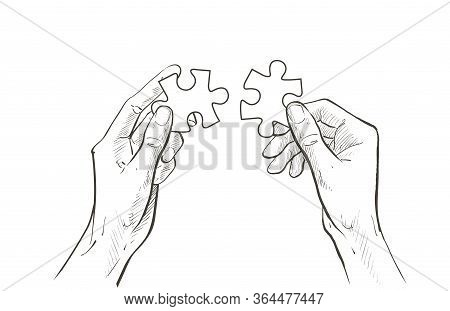 Hands Connect Jigsaw Puzzle Piece. The Concept Of Establishing Contacts, Teamwork, Partnerships, Und
