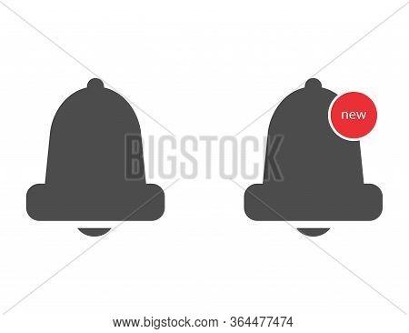 Bell Notification Icon. Alarm Reminder Logo In Dark Flat Design. Alert Notice Of Phone Or Smartphone