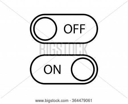 Switch On And Off Toggle. Slider Control To Turn On And Off. Isolated Round Buttons In Linear Style