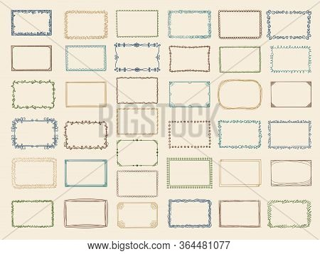 Sketch Frames. Album Doodle Dividers And Stylized Square Shapes Scribble Lines Vector Collection. Il