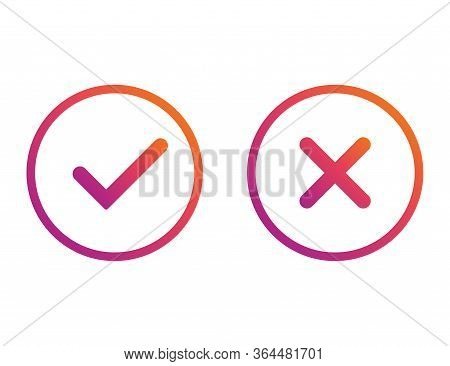 Yes And No Gradient Checkmarks. Colorful Correct And Wrong Tick. Checkbox Button To Choose Right And
