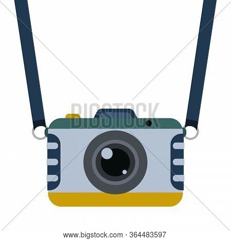 Retro Camera With Strap In Flat Style. Vintage Vector Illustration On White Background