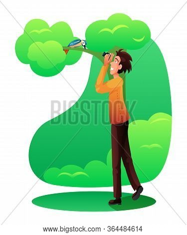 Man Photographing Bird Vector Illustration. Nature Lover Flat Character. Park Walking, Forest Stroll