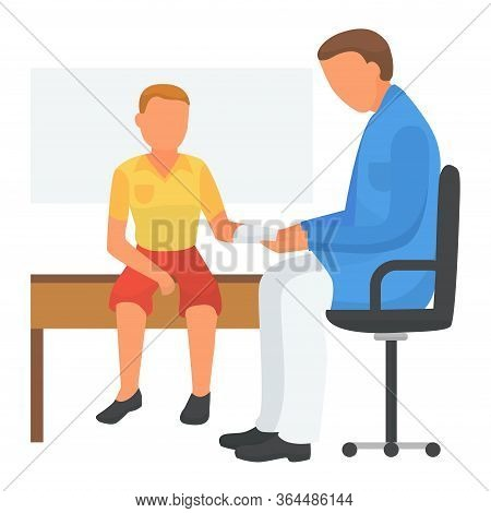Doctor Care About Child Health, Applied Bandage, Vector Illustration. Medical Treatment For Broken H