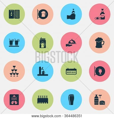 Alcohol Icons Set With Margarita, Cocktail Sign, Draught And Other Beer Sign Elements. Isolated Illu