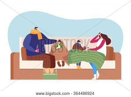 Flu Disease Care, Cold Illness Season At Family, Vector Illustration. Man Woman Character Health Fev