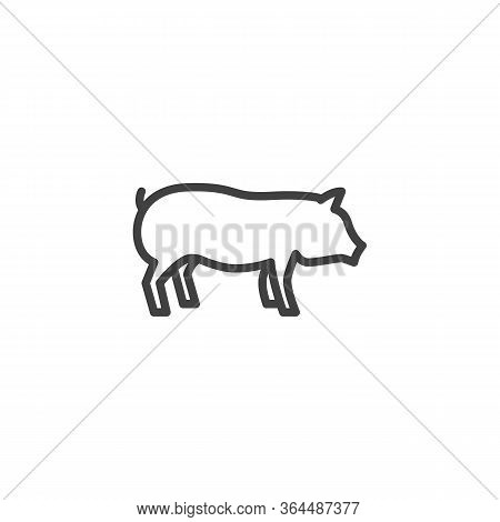 Pig Farm Animal Line Icon. Linear Style Sign For Mobile Concept And Web Design. Livestock, Swine Sid