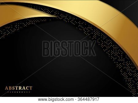 Abstract Luxury Curves Overlapping On Black Background With Glitter And Golden Lines With Copy Space
