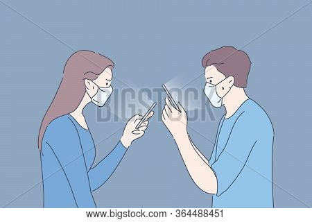 Protection, Quarantine, Communication, Infection, Coronavirus Concept. Couple Man And Woman With Med