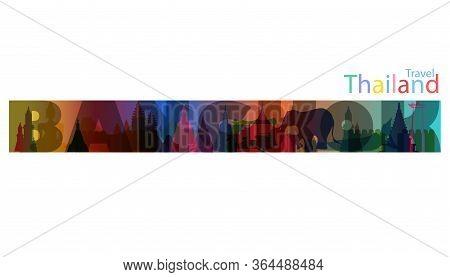 Landmark  Thailand Gradient. Travel Thailand  Bangkok Text.banner Modern Idea And Concept - Vector