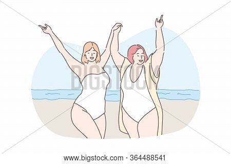 Body Positive, Vacation, Travelling, Holiday Concept. Young Happy Obese Thick Women Friends Tourists