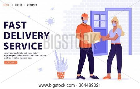 Safe Delivery Service Concept. Woman Receive Package From Courier. Delivery Parcel To Door. Online O