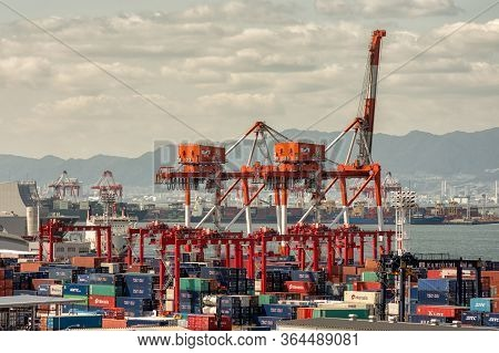 Container Terminal In The Port Of Osaka, The Main Port In Japan, In Osaka Bay, Osaka, Japan